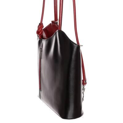Fekete-bordó bőr női táska