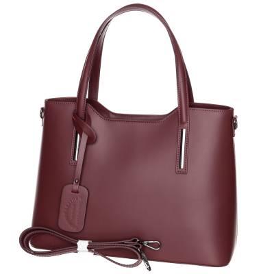 Padlizsánbordó bőr női táska