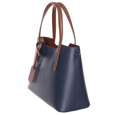 Kék-barna bőr női táska