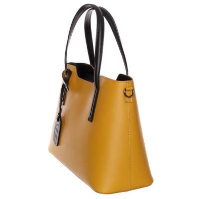 Sárga-fekete bőr női táska