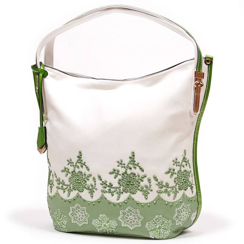 552858c86ee2 Velina Fabbiano fehér-zöld divatos női táska #1540