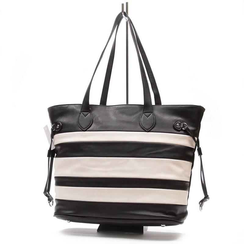 Nagy méretű fekete-fehér csíkos női táska  1563 5f5c815850