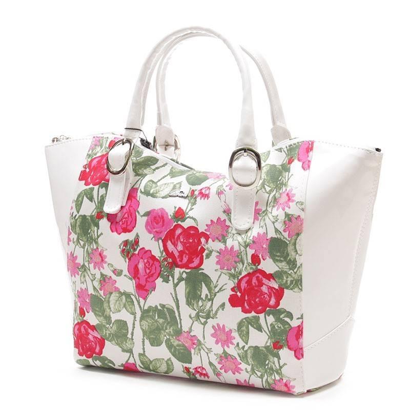 05c677827a Diva Collection fehér-virágos női rostbőr táska #1667
