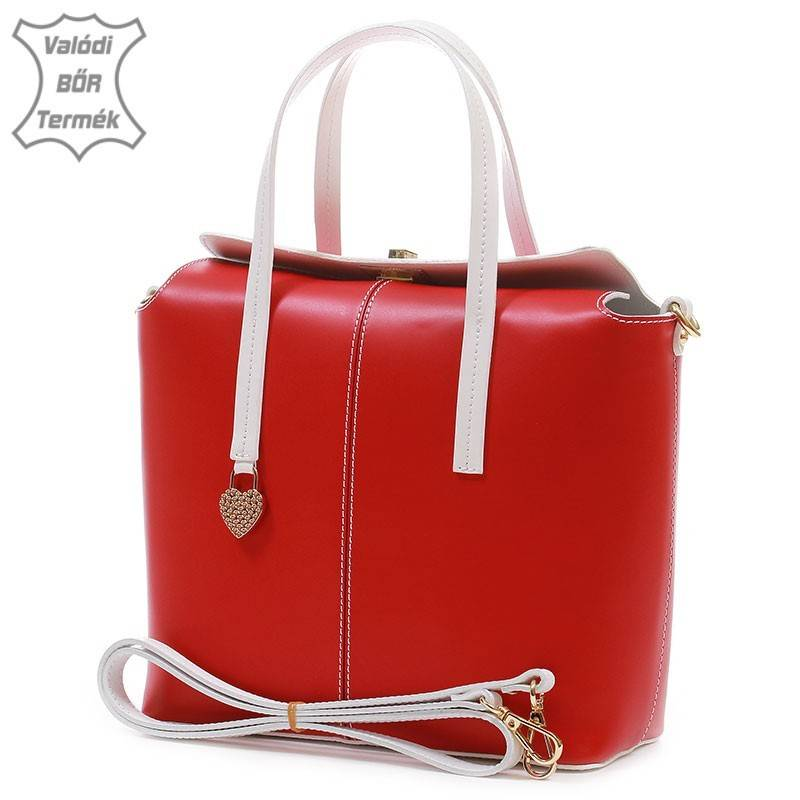 Piros-fehér női bőr táska  1805 94bb8b73b7